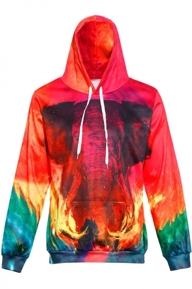 Hot Sale Elephant Ombre Pattern Long Sleeves Pullover Hoodie with Pocket