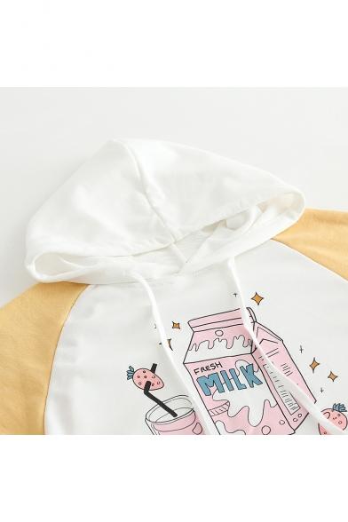 Hoodie Sleeve Color Block Print Drink Raglan Leisure Ox1fYqS
