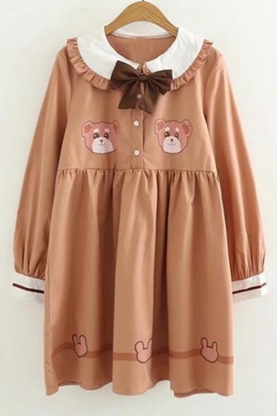 Lovely Cartoon Bear Print Bow Front Long Sleeve Collared Dress