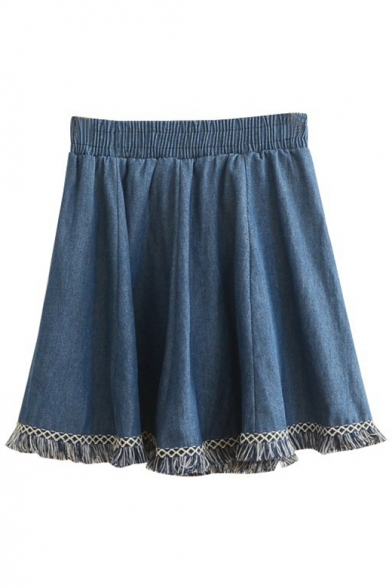 Retro Tassel Hen Elastic Waistband Denim A-Line Skirt