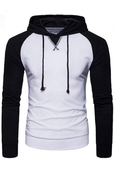 Simple Color Block Sportive Drawstring Pullover Slim-Fit Men's Hoodie