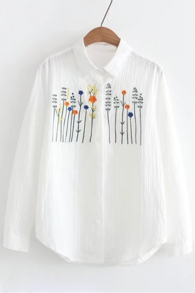 Stylish Floral Embroidered Point Collar Long Sleeves Button Down Loose Shirt