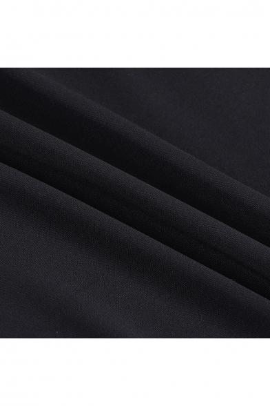 Stylish Patchwork Color Block Boat Neck Ruffle Layered Hem Slim-Fit Mini Dress