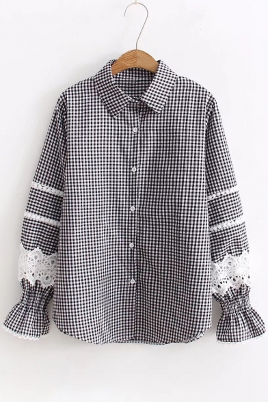 Print Lace Down Sleeve Stylish Plaid Shirt Insert Button Long Lapel 4SnRxn