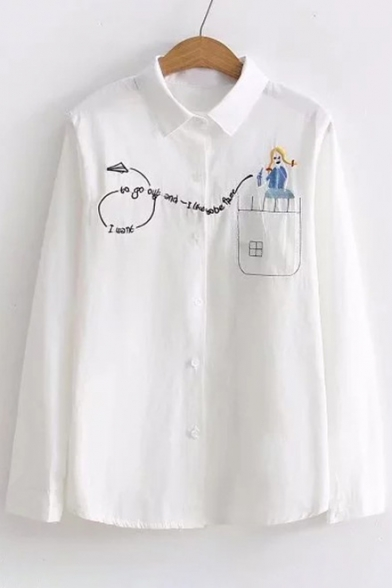 Trendy Cartoon Girl Letter Embroidered Long Sleeve Lapel Single Breasted Shirt