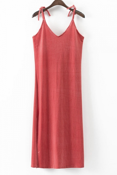 Trendy Plain Bow Spaghetti Straps Slim-Fit Velvet Cami Midi Dress with Scarf