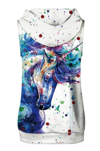 Fashionable Unicorn Painting Print Sleeveless Hoodie with Sports Shorts