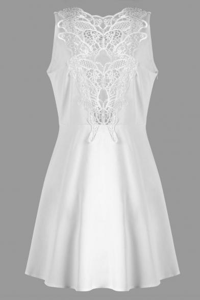 Crochet Panel Back Sleeveless Round Neck Plain Mini A-Line Dress