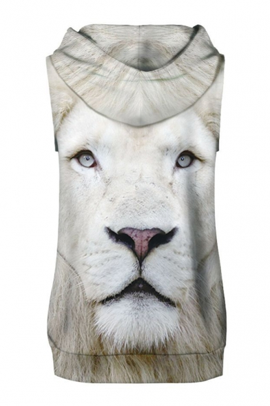 Fancy White Lion Print Sleeveless Hoodie with Sports Shorts