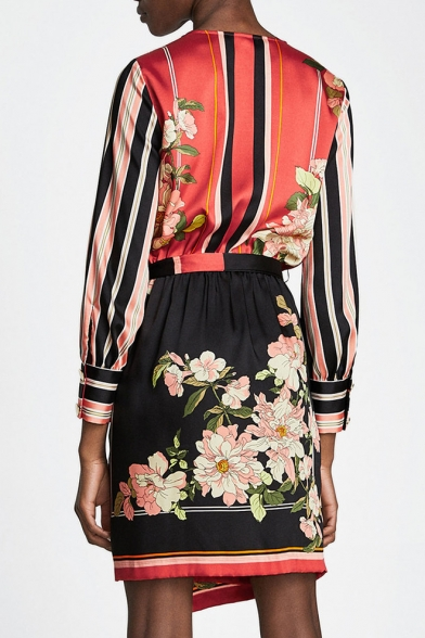 Popular Color Block Floral Print Bow Belted Mini Wrap Dress