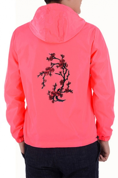Hot Fancy Floral Embroidery Zip Up Hooded Spring Unisex Jacket
