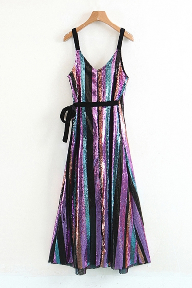 Straps Sequined Wrap Striped Midi Pattern Fancy Dress Hot Spaghetti Cami fEYWX4qWwx