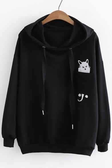 Embroidered Sleeves Simple Hoodie Cat Pullover Long Casual Loose tStx5RBcUy