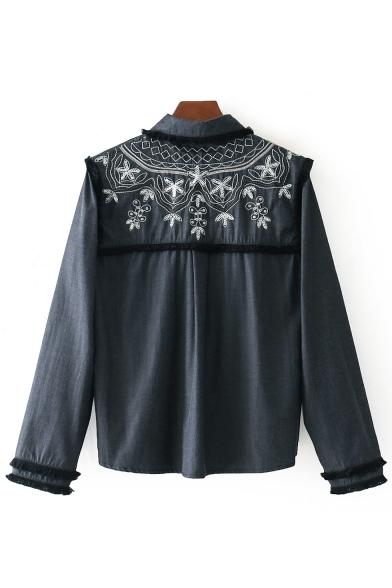 Stylish Sequined Pattern Long Sleeve Button Down Dip Hem Tassel Shirt