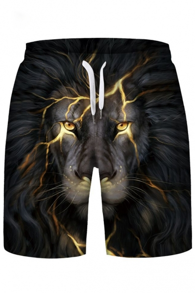Hot Fashion Lion Lightning Print Drawstring Waist Sports Shorts