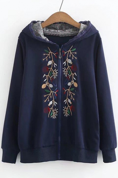 5012ca06f70 Hot Sale Floral Embroidered Lace Trim Long Sleeves Zippered Hoodie -  Beautifulhalo.com