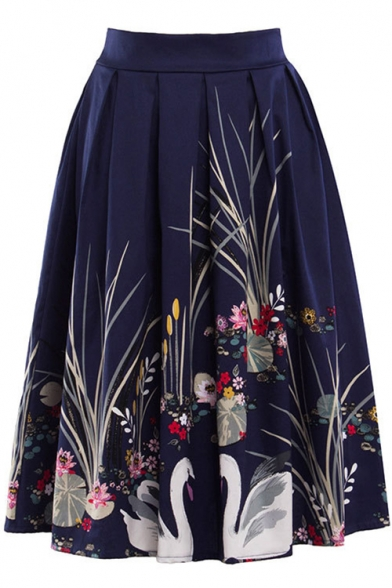 New Arrival Classic Floral Printed Slim A-Line Midi Skirt