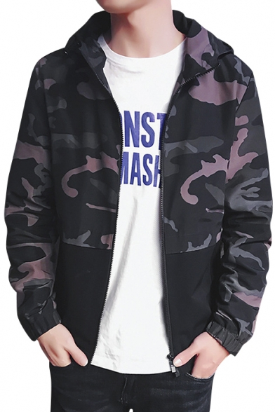 Fashionable Camouflaged Color Block Zip Up Hooded Pockets Detail Jacket