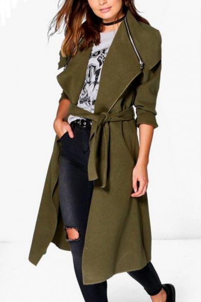 Winter's New Arrival Lapel Collar Long Sleeve Plain Zipper Embellished Long Coat with Belt, LC463616, Black;khaki;army green