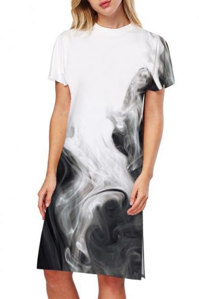 Midi Print Dress T Split Women's Crew Short Sleeve Smoke Fashion Side Neck shirt HqwzETgx