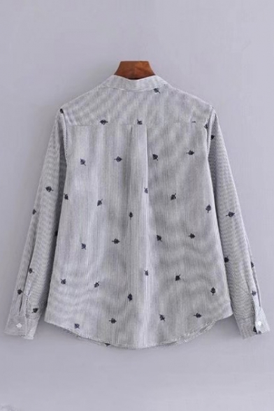 Fashionable Embroidered Pattern Long Sleeve Single Breasted Striped Shirt
