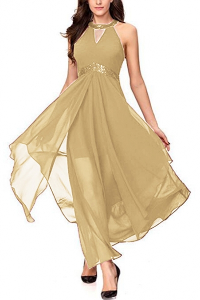 Sequined Round Neck Halter Sleeveless Hollow Out Front Maxi Asymmetric Hem Party Dress