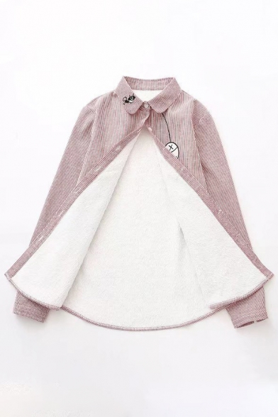 Simple Fish Cat Cartoon Embroidery Lapel Fur Padded Button Front Lapel Shirt