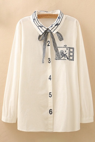 Elegant Music Note Violin Cartoon Number Embroidered Button Front Shirt