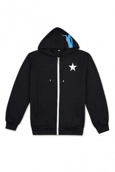 Coat Up Hooded Sleeve Pentagram Fashion Long Printed Zip aqOnfSv