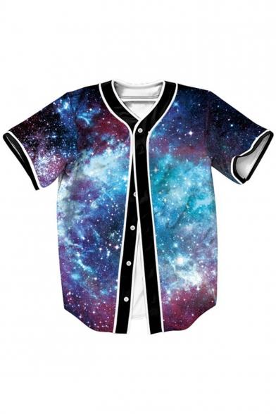 Hot Fashion Galaxy Print Button Front Short Sleeve Baseball Tee