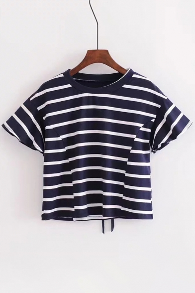 Embellished Stripe Cropped Back Up Tee Lace Short Round Neck New Printed Arrival Sleeve xOqBvpwH