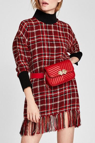 Spring Fashion High Neck Tartan Plaids Color Block Pattern Tassel Hem Shift Mini Dress