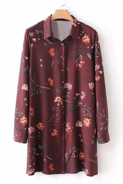 Mini Collar Floral Shirt Dress Down Buttons Sleeve Long Lapel Printed Twwx0qgv