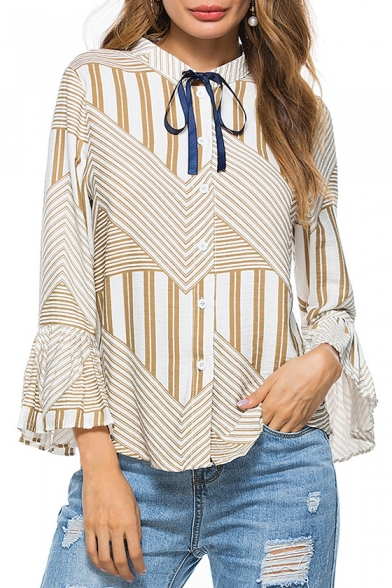 Hot Fashion Striped Pattern Stand-up Collar Bow Tie Neck Bell Sleeve Button Front Shirt