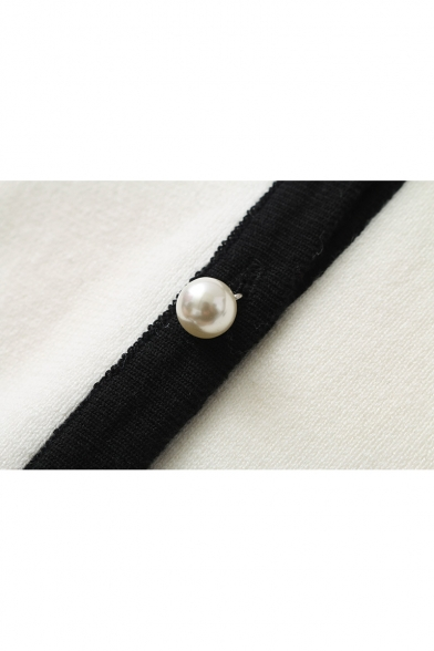 Trim Contrast Sale Button Long Round Hot Neck Cardigan Sleeve xHTdnw