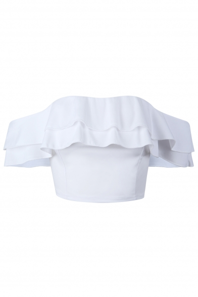 Plain Ruffle Cropped Sleeve Short Tee Shoulder Chic Off Hem The q1wYa