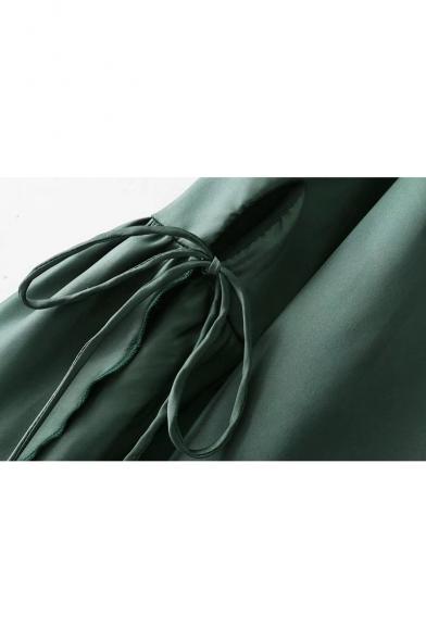 Cute Lapel Collar Plain Ruffle Cuff Long Sleeve Keyhole Front Blouse