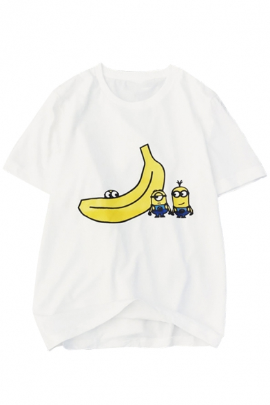 Cute Banana Cartoon Printed Round Neck Short Sleeves Summer Tee