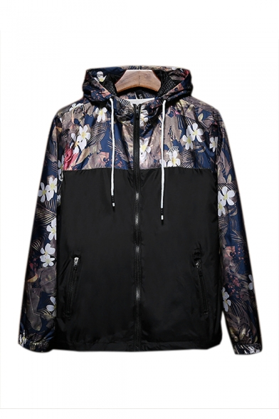Floral Printed Color Block Long Sleeve Zip Up Hooded Dust Coat