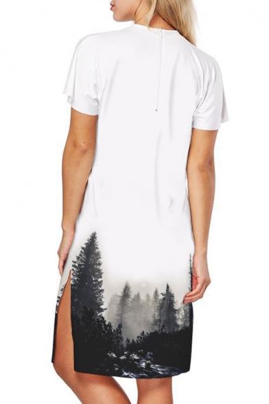 Monochrome Forest Print Crew Neck Short Sleeve Split Side Midi T-shirt Dress