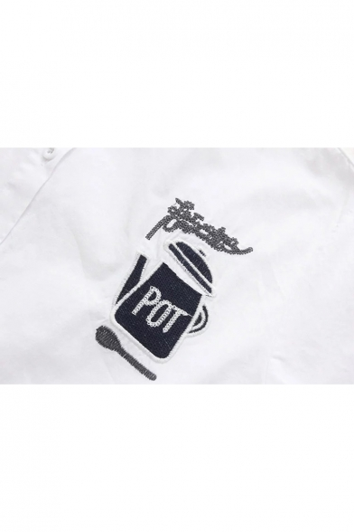 Stylish Teapot Letter Fork Embroidered Point Collar Long Sleeves Button Front Shirt