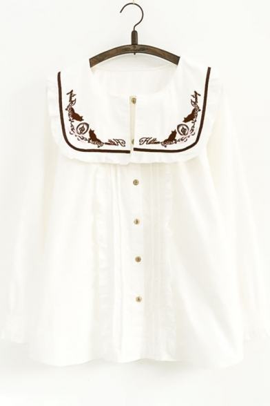 Button Long Cat Pleated Neck Elegant Letter Shirt Sleeves Round Down Embroidered SxAwX