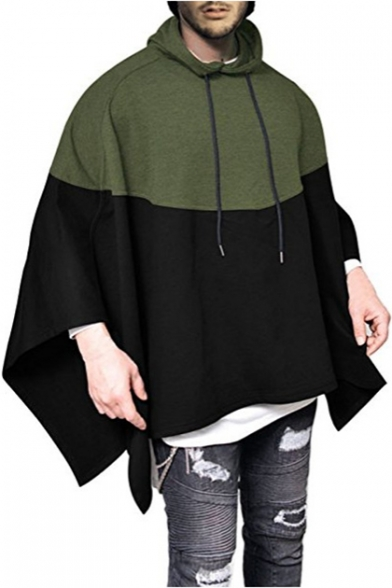 Asymmetric Block Sleeve Loose Hem Cape Hooded Long Color qE557wz