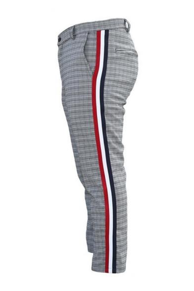 Man's Popular Leisure Color Block Stripes Side Plaids Printed Straight Pants