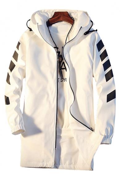 Men's Fashion Striped Long Sleeve Letter Pattern Zip Up Hooded Longline Coat