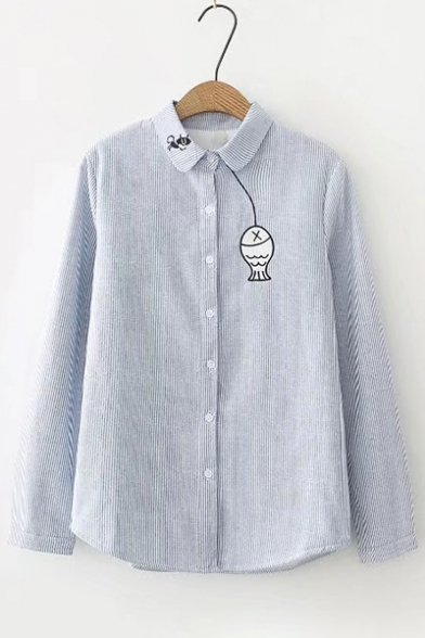 Embroidery Simple Front Padded Lapel Shirt Fish Fur Cartoon Lapel Button Cat twqaHSw