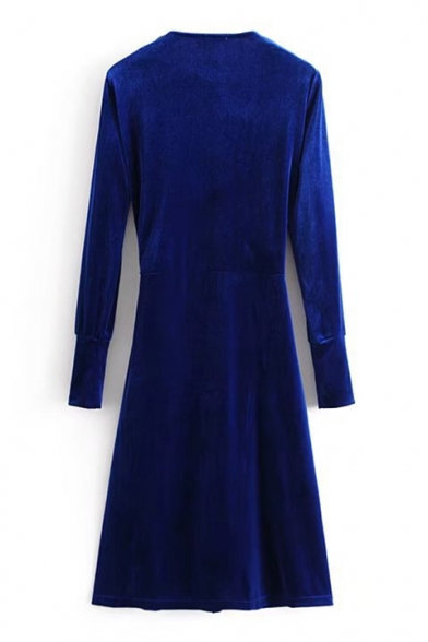 Elegant Plain V-Neck Long Sleeves Bow Belted Midi Wrap Velvet Dress