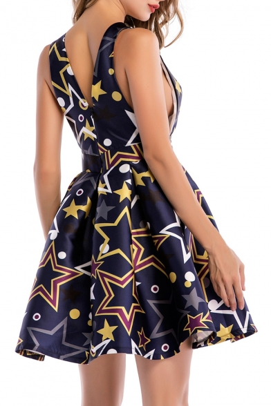 Sexy Geometric Printed V Neck Hollow Out Back Sleeveless Mini Skater Dress