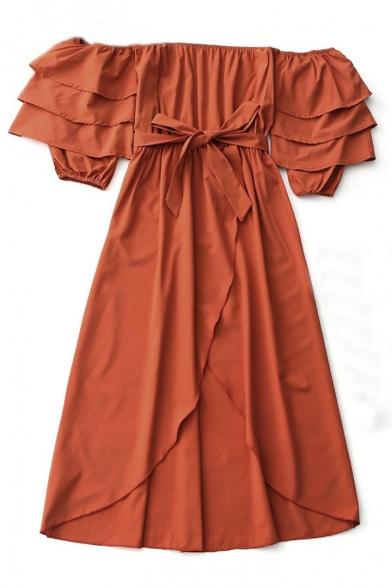 Sexy Plain Off The Shoulder Half Sleeve Tied Waist Asymmetric Hem Midi Dress