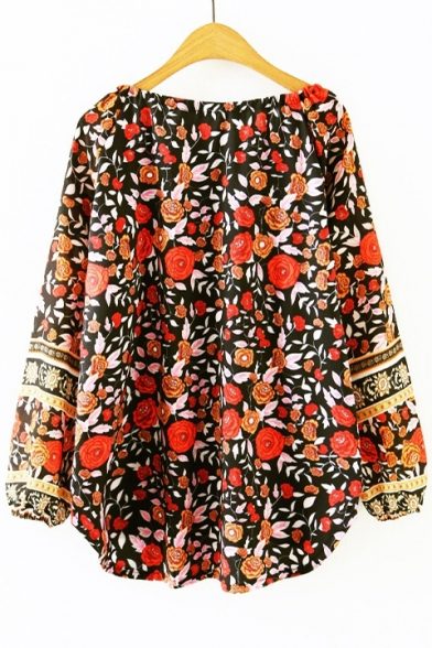 Dipped Boat Top Pullover Tie Tassel Floral Front Design Neck Hem Bow Blouse Print HA1rzA